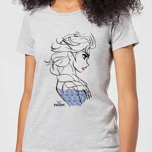 T-Shirt Femme La Reine des Neiges - Croquis Elsa Bleu - Gris