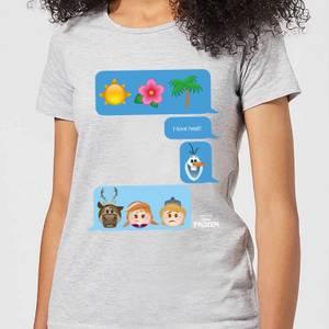 T-Shirt Disney Frozen I Love Heat Emoji - Grigio - Donna