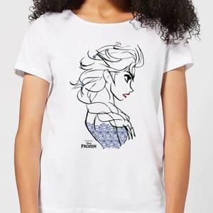 T-Shirt Femme La Reine des Neiges - Croquis Elsa Bleu - Blanc