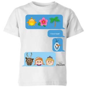 Disney Frozen I Love Heat Emoji Kids' T-Shirt - White