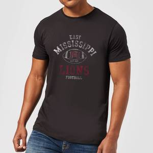 East Mississippi Community College Lions Football Distressed Men's T-Shirt - Black
