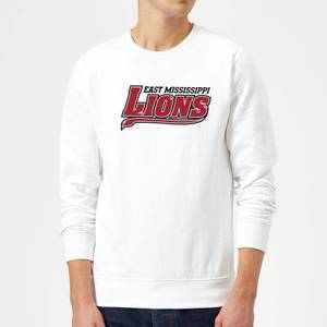 Sweat Homme Logo Lions Script - East Mississippi Community College - Blanc