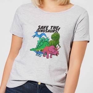 Save The Dinosaurs Women's T-Shirt - Grey