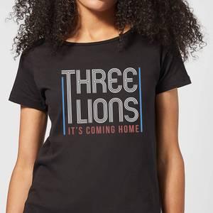 Three Lions It's Coming Home Women's T-Shirt - Black
