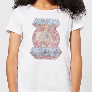 Camiseta He-Man Masters del Universo Efecto Desteñido - Mujer - Blanco