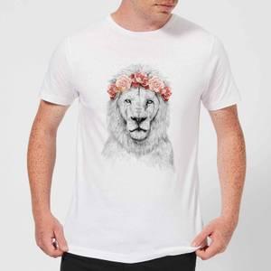 Balazs Solti Lion And Flowers Men's T-Shirt - White