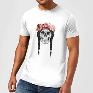 Balazs Solti Skull And Flowers Men's T-Shirt - White
