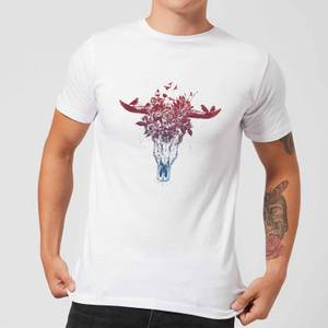 Balazs Solti Skulls And Flowers Men's T-Shirt - White