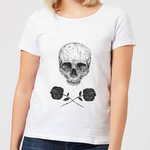 Balazs Solti Skull And Roses Women's T-Shirt - White