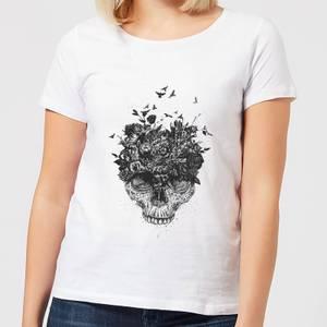 Balazs Solti Skulls And Flowers Women's T-Shirt - White