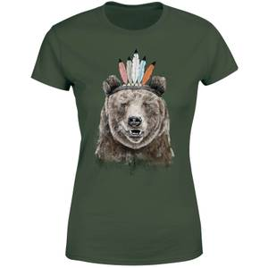Balazs Solti Native Bear Women's T-Shirt - Forest Green
