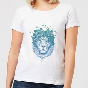 Balazs Solti Lion And Butterflies Women's T-Shirt - White