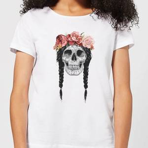 Balazs Solti Skull And Flowers Women's T-Shirt - White