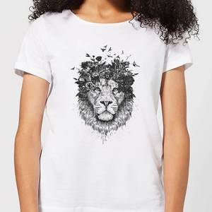 Balazs Solti Lion And Flowers Women's T-Shirt - White