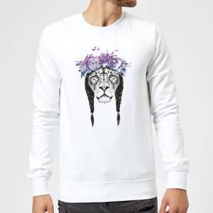 Balazs Solti Lion And Flowers Sweatshirt - White
