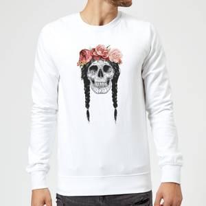 Balazs Solti Skull And Flowers Sweatshirt - White