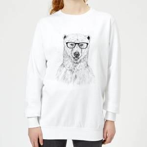 Polar Bear And Glasses Women's Sweatshirt - White