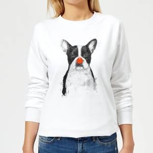 Red Nosed Bulldog Women's Sweatshirt - White