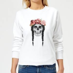 Skull And Flowers Women's Sweatshirt - White