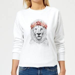 Lion And Flowers Women's Sweatshirt - White