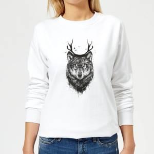 Wolf Women's Sweatshirt - White