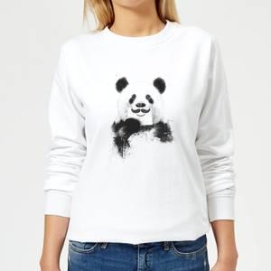 Moustache And Panda Women's Sweatshirt - White