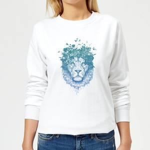 Lion And Butterflies Women's Sweatshirt - White