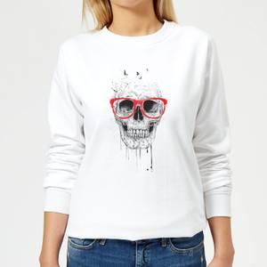 Skull And Glasses Women's Sweatshirt - White
