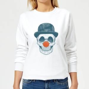 Red Nosed Skull Women's Sweatshirt - White