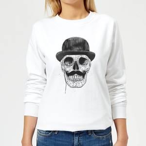 Monocle Skull Women's Sweatshirt - White