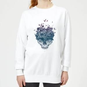 Skulls And Flowers Women's Sweatshirt - White