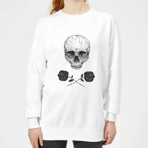 Skull And Roses Women's Sweatshirt - White
