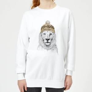 Lion With Hat Women's Sweatshirt - White