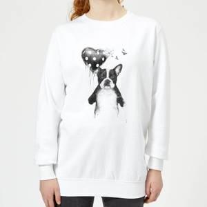Bulldog And Balloon Women's Sweatshirt - White