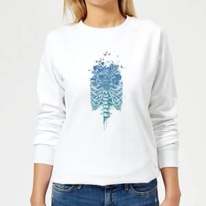 Ribcage And Flowers Women's Sweatshirt - White
