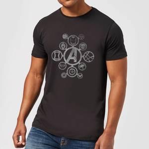 T-Shirt Homme Logo Effet Métallisé Avengers - Noir