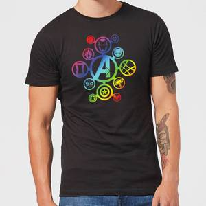 Avengers Rainbow Icon Men's T-Shirt - Black