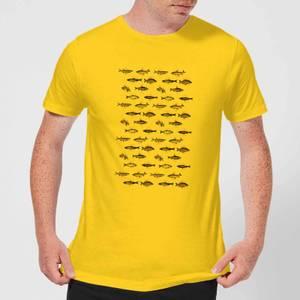 Florent Bodart Fish In Geometric Pattern Men's T-Shirt - Yellow
