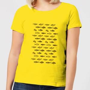 Florent Bodart Fish In Geometric Pattern Women's T-Shirt - Yellow