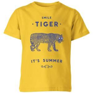 Florent Bodart Smile Tiger Kids' T-Shirt - Yellow