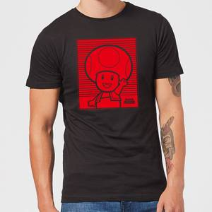 Nintendo Super Mario Toad Retro Line Art Men's T-Shirt - Black