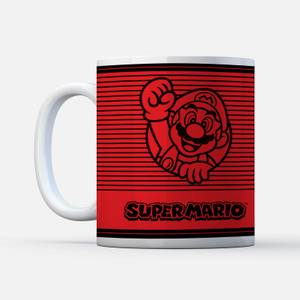 Nintendo Super Mario Retro Line Art Colour Mug