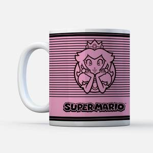 Nintendo Super Mario Princess Peach Retro Line Art Colour Mug