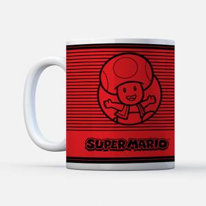 Nintendo Super Mario Toad Retro Line Art Colour Mug