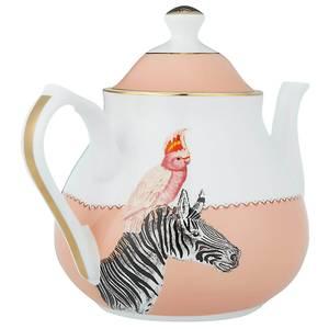 Yvonne Ellen Zebra and Cockatoo Teapot - Pink