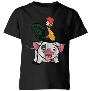 Moana Hei Hei and Pua Kids' T-Shirt - Black
