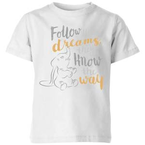 Dumbo Follow Your Dreams Kids' T-Shirt - White