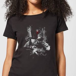 T-Shirt Femme Boba Fett Effet Abîmé Star Wars Classic - Noir