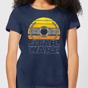 T-Shirt Femme Sunset Tie Star Wars Classic - Bleu Marine