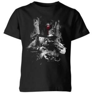 T-Shirt Enfant Boba Fett Distressed Star Wars Classic - Noir